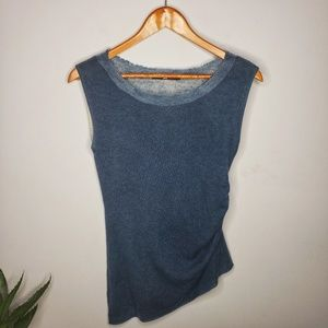 Jarbo Ruched Sleeveless Sweater Top in Blue